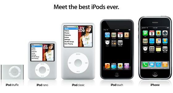 一新された iPhone と iPod のラインナップ(Appleのサイトから)