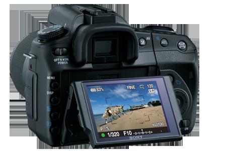 α300とされる機種の背面写真。ライブビュー機能を搭載している。