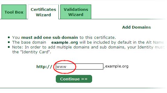 StartSSL の設定11 サブドメインを指定する