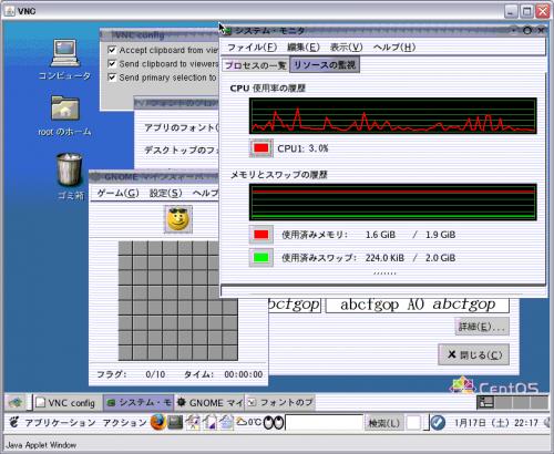 Java アプレットで VNC サーバにアクセスしたところ