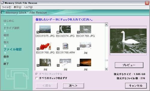 復元されたファイルのサムネイルが表示される