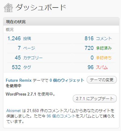 WordPress 2.7.1 なのに 2.7.1 へのアップデートがあると表示される。