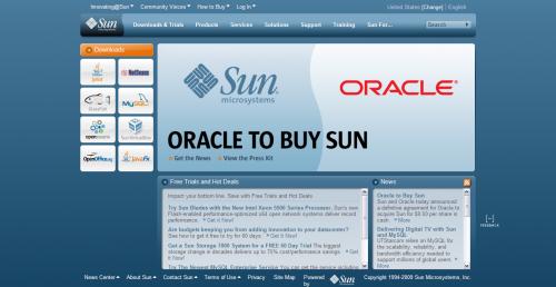 Oracle による買収を発表した Sun のサイト