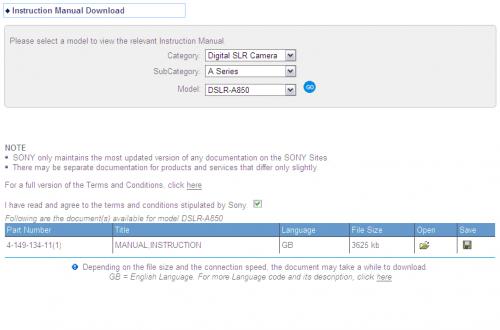 Sony DSLR-A850 のマニュアルダウンロードページ