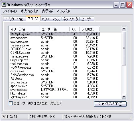Microsoft Security Essentials の付加をタスクマネージャで見る(メモリ)