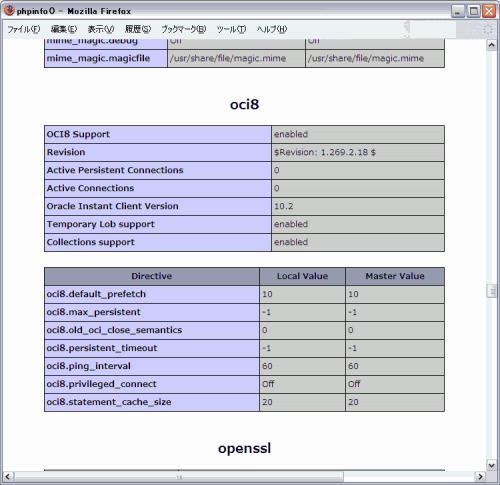 phpinfo() で OCI8関数が有効になった状態を確認する