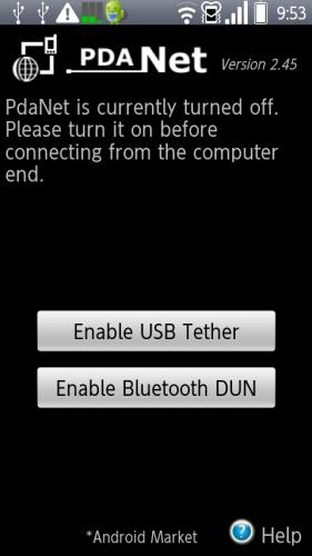 PdaNet で Bluetooth 接続を選択する
